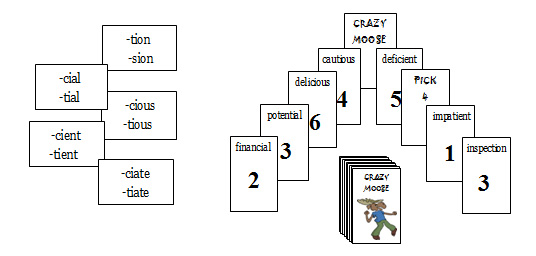 Crazy Moose: Stable Final Syllables (tion/sion, cial/tial, cious/tious...
